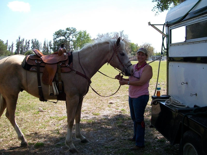 Chase's and Janet's first time away from ranch for  trail ride in local park.